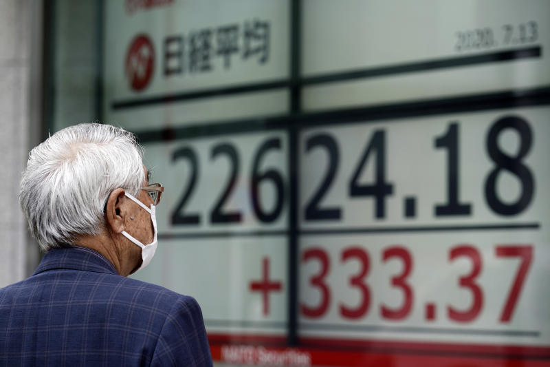 A man wearing a face mask to help curb the spread of the coronavirus looks at an electronic stock board showing Japan's Nikkei 225 index at a securities firm in Tokyo Monday, July 13, 2020. Asian shares rose Monday, cheered by recent upbeat projections on a global rebound tempered with worries about disappointment that could follow. (AP Photo/Eugene Hoshiko)
