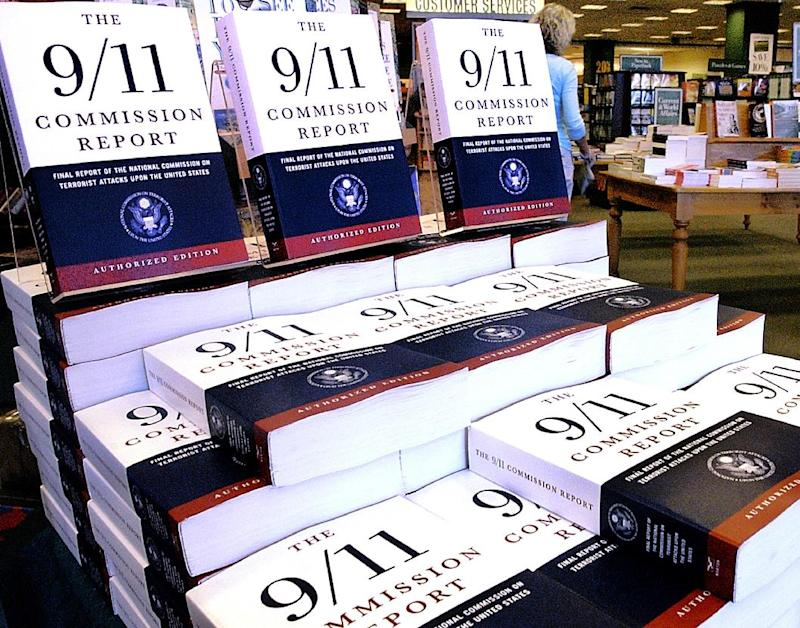 """FILE - This July 22, 2004 file photo shows a Barnes and Noble book store in Springfield, Ill., displaying """"The 9/11 Commission Report"""", the final report of the National Commission on Terrorist Attack upon the United States.   The CIA released hundreds of pages of declassified documents related to the Sept. 11, 2001 attacks that detail the agency's budgetary woes leading up to the attacks and its attempts to track al-Qaida leader Osama bin Laden.  Many of the documents are cited in the 9/11 Commission report. (AP Photo/Seth Perlman)"""