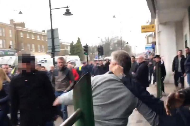 Rivalry: Millwall and Spurs supporters began to clash on Sunday afternoon. (Sacha Twitter)