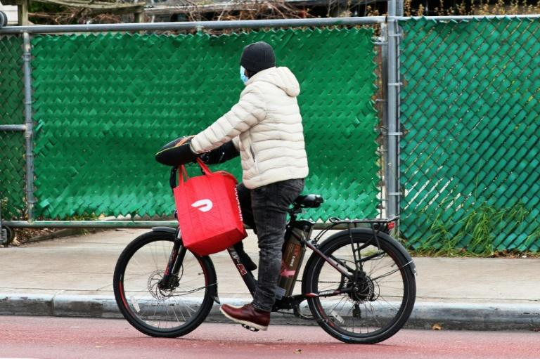 A DoorDash delivery worker in New York in December 2020