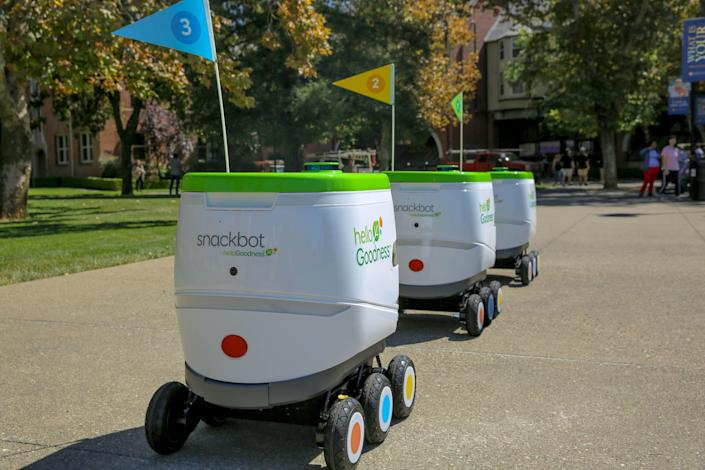 The snackbot is an outdoor, self-driving robot.