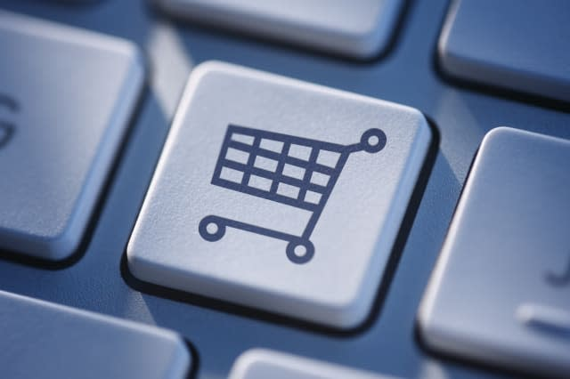 Symbolic icon on computer keyboard for online shopping