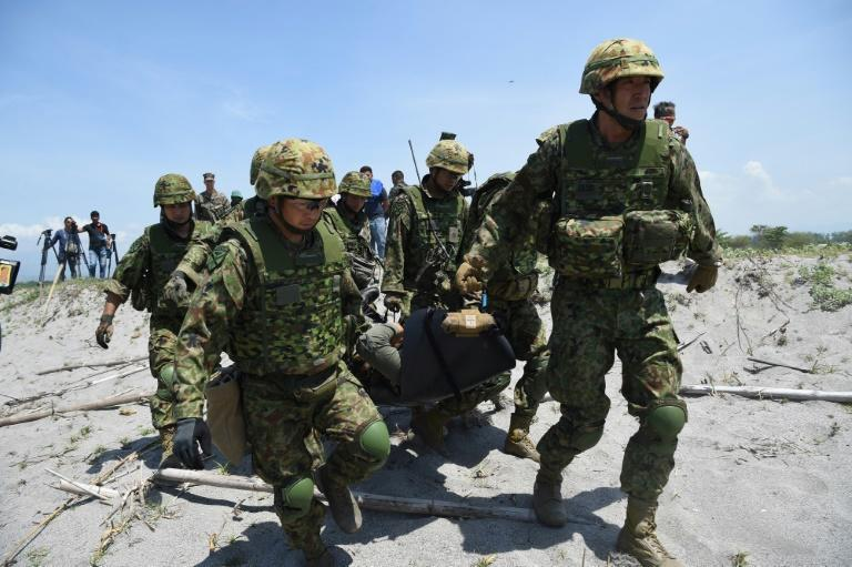 About 150 US, Filipino and Japanese troops took part in Saturday's landing
