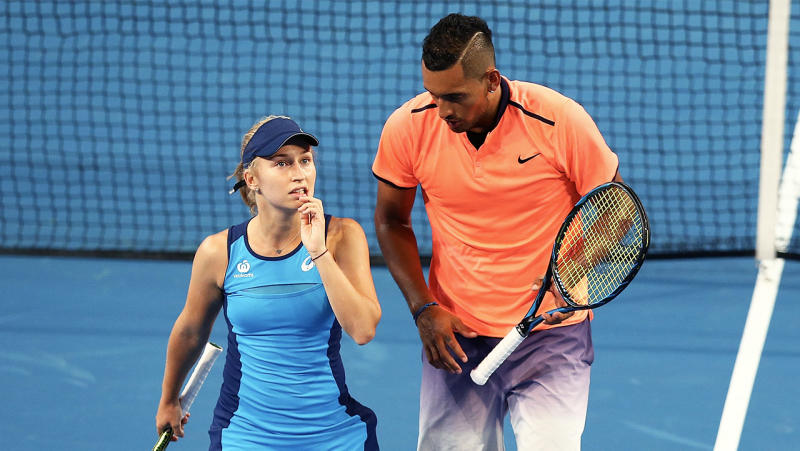 Daria Gavrilova (pictured left) with Nick Kyrgios (pictured right). (Getty Images)