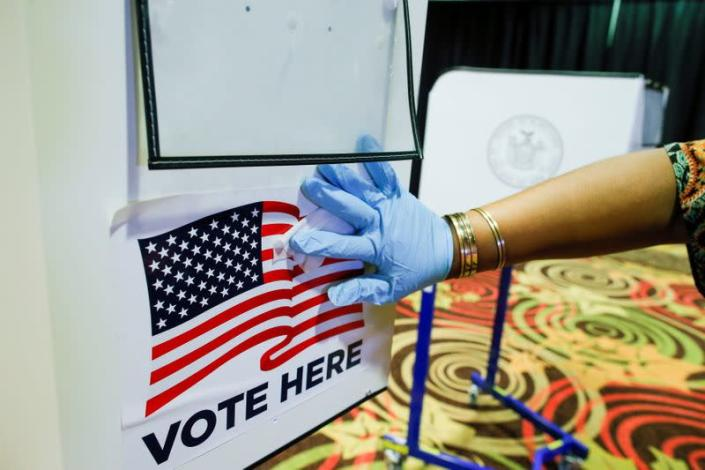 FILE PHOTO: First day of early voting for the New York Primary election, in New York