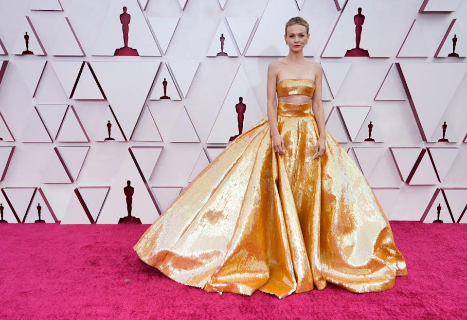 Carey Mulligan arrives at the 2021 Oscars. (Chris Pizzello, Pool/AP)