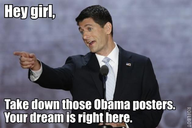 "Hey Girl, Want to Workout with Paul Ryan?  Paul Ryan is announced as Mitt Romney's running mate. The internet notices he has the first name as actor Ryan Gosling, center of the ""Hey Girl"" meme, which pairs photos of the Hollywood star with made-up quotes. Next? ""Hey Girl,"" Paul Ryan style.   Why it worked? Ryan's good looks and fit physique. Recall the cache of photos released by Time magazine showing Ryan pumping iron? (Image courtesy heygirlitspaulryan.tumblr.com)"