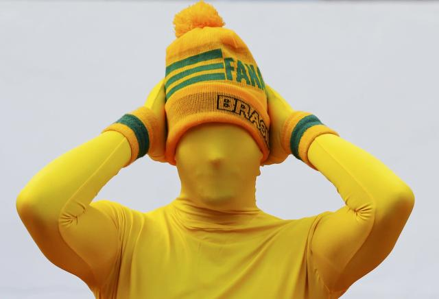 A fan of Australia is pictured during their 2014 World Cup Group B soccer match against the Netherlands at the Beira Rio stadium in Porto Alegre June 18, 2014. REUTERS/Stefano Rellandini (BRAZIL - Tags: SOCCER SPORT WORLD CUP)