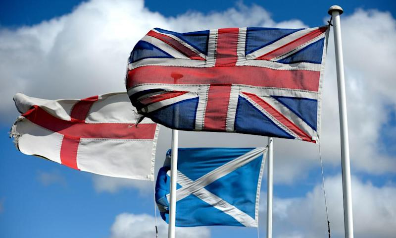 The flags of Scotland and England and the union jack