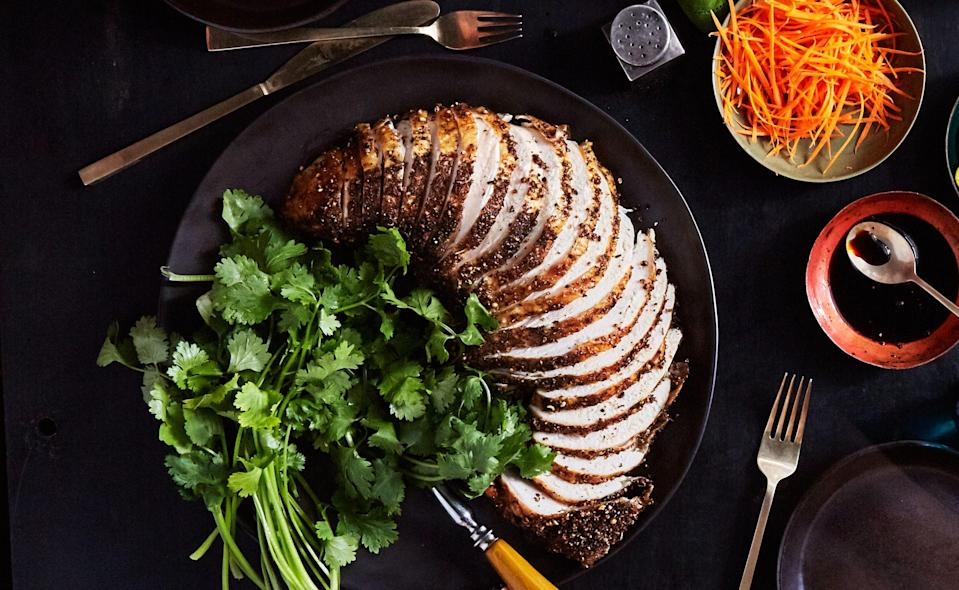 """Yes, you can buy just a turkey breast for this recipe. And when you cook it without the rest of the bird, you eliminate all those whole-bird problems. <a href=""""https://www.bonappetit.com/recipe/pastrami-style-grilled-turkey-breast?mbid=synd_yahoo_rss"""" rel=""""nofollow noopener"""" target=""""_blank"""" data-ylk=""""slk:See recipe."""" class=""""link rapid-noclick-resp"""">See recipe.</a>"""
