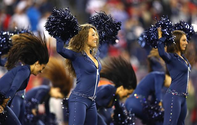 <p>New England Patriots cheerleaders perform during the first quarter of a game against the Atlanta Falcons at Gillette Stadium on October 22, 2017 in Foxboro, Massachusetts. (Photo by Maddie Meyer/Getty Images) </p>