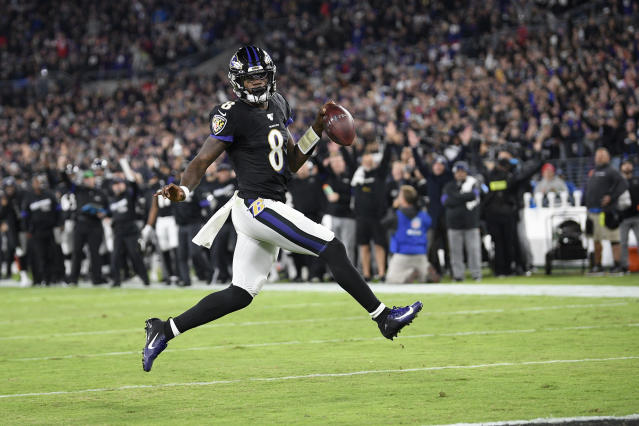 Lamar Jackson rushed for an NFL quarterback record 1,206 yards (in just 15 games) this season. (AP)