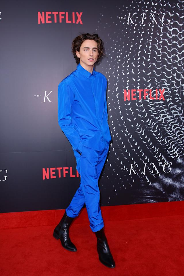 <p>At an Australian premiere of <strong>The King</strong> in Sydney, Timothée wore an electric blue outfit by Haider Ackermann. </p>
