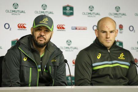 FILE PHOTO: Britain Rugby Union - Australia Press Conference - Twickenham Stadium - 2/12/16 Australia head coach Michael Cheika and Stephen Moore during the press conference Action Images via Reuters / Andrew Boyers Livepic