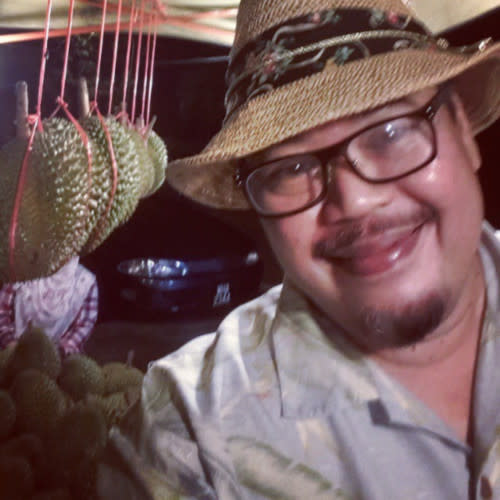 'Kampong Pisang' and '16 Puasa' director-creator Mamat Khalid with one of his fav fruits, the durian.