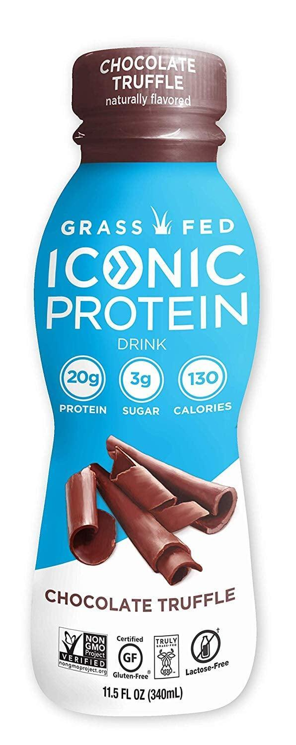 "<p>The <a href=""https://www.popsugar.com/buy/Iconic-Grass-Fed-Protein-Drinks-408750?p_name=Iconic%20Grass%20Fed%20Protein%20Drinks&retailer=amazon.com&pid=408750&price=36&evar1=fit%3Aus&evar9=45752863&evar98=https%3A%2F%2Fwww.popsugar.com%2Fphoto-gallery%2F45752863%2Fimage%2F45752889%2FProtein-Packed-Drink&list1=shopping%2Camazon%2Chealthy%20snacks%2Csnacks%2Clow%20calorie%2Clow-carb&prop13=api&pdata=1"" class=""link rapid-noclick-resp"" rel=""nofollow noopener"" target=""_blank"" data-ylk=""slk:Iconic Grass Fed Protein Drinks"">Iconic Grass Fed Protein Drinks</a> ($36 for 12) come in five flavors, but the Chocolate Truffle is by far our favorite. It tastes like chocolate milk and contains a whopping 20 grams of protein with only 8 grams of carbs.</p>"