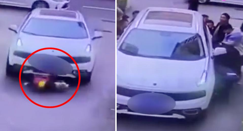 An image (left) shows the boy trapped under the car, while (right) passers-by lift the car off the boy. Source: Xuanwo Video