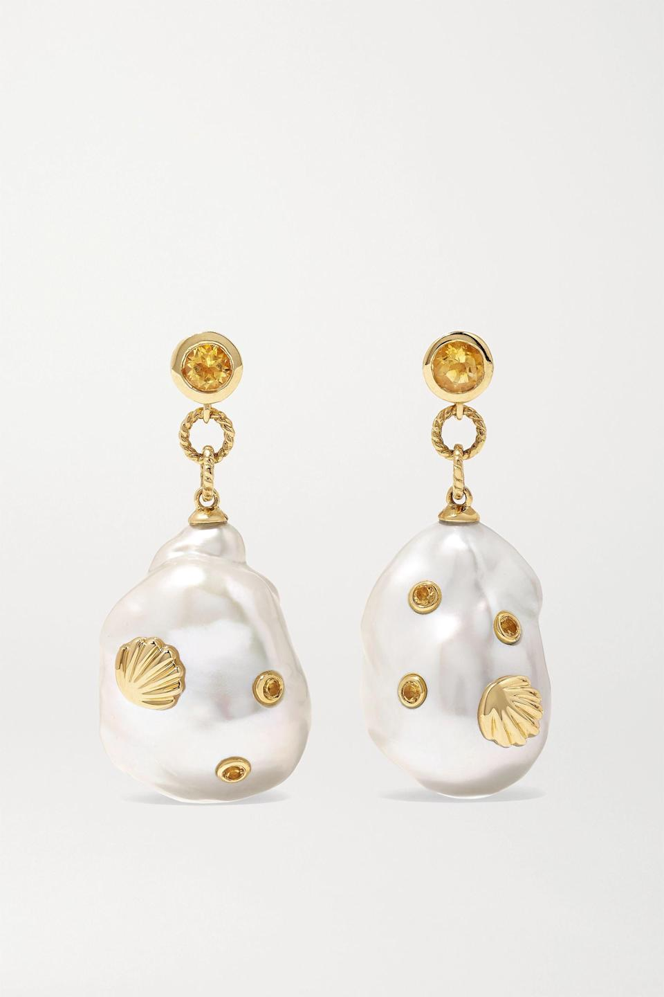 """<h2>November: Citrine</h2><br><strong>The Signs: Scorpio & Sagittarius<br></strong><br>""""Named for the old French word <em>citrin</em>, meaning lemon, [citrine] has been popular for thousands of years and revered for its rarity,"""" writes Oldershaw. It's a less-common cousin of amethyst, usually found in an autumnal golden orange hue. The loyal Scorpio or ingratiating Sagittarius in your life will love to bask in this gem's inviting glow.<br><br><strong>Yvonne Léon</strong> 9-karat gold, pearl and citrine earrings, $, available at <a href=""""https://go.skimresources.com/?id=30283X879131&url=https%3A%2F%2Fwww.net-a-porter.com%2Fen-us%2Fshop%2Fproduct%2Fyvonne-leon%2F9-karat-gold-pearl-and-citrine-earrings%2F1281311"""" rel=""""nofollow noopener"""" target=""""_blank"""" data-ylk=""""slk:Net-A-Porter"""" class=""""link rapid-noclick-resp"""">Net-A-Porter</a>"""