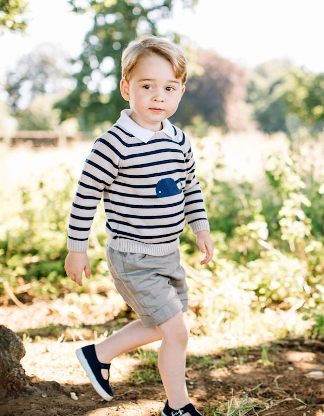 This image, taken at Kate and William's Norfolk home in July 2016, was released for George's third birthday. (Photo: Matt Porteous/PA)