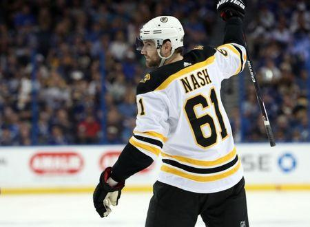 FILE PHOTO: Apr 28, 2018; Tampa, FL, USA;Boston Bruins left wing Rick Nash (61) celebrates as he scores a goal against the Tampa Bay Lightning during the second period of game one of the second round of the 2018 Stanley Cup Playoffs at Amalie Arena. Mandatory Credit: Kim Klement-USA TODAY Sports