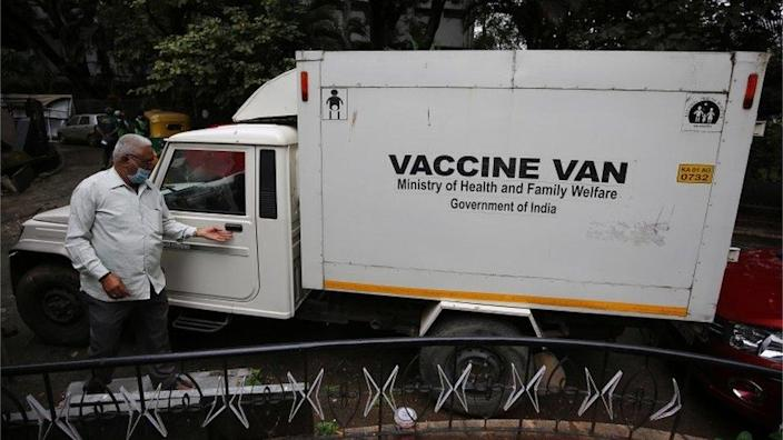 The Vaccine Van which is used to distribute the Covid-19 vaccine when available, in Bangalore, India, 07 January 2021. The second phase of dry run for COVID-19 vaccinations will be conducted in five districts - Belagavi, Bengaluru, Kalaburagi, Mysuru and Shivamoga - across the state, as directed by the Union Health Ministry.