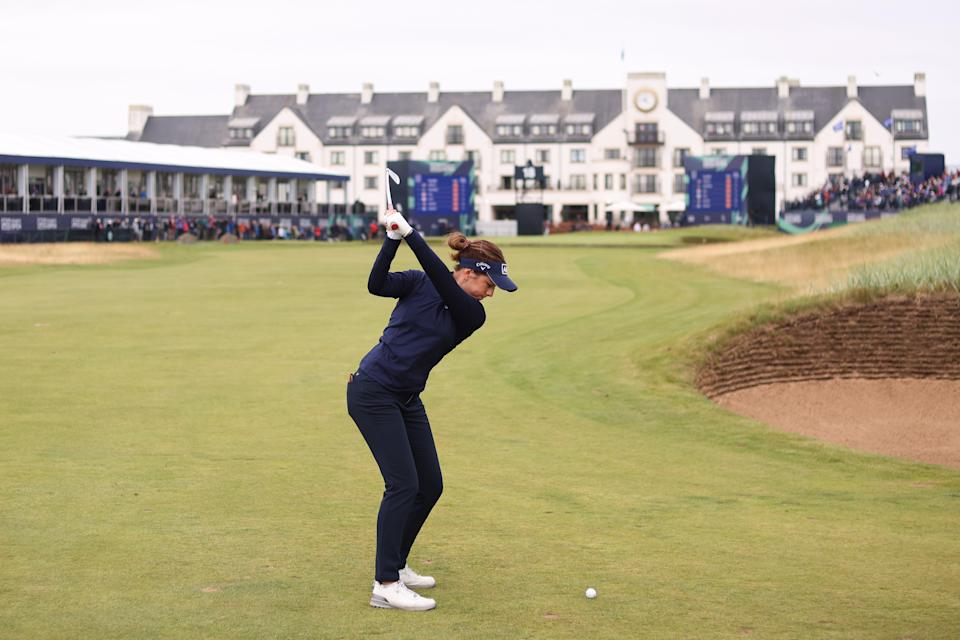 Georgia Hall of England plays her second shot on the 18th hole during the first round of the AIG Women's Open at Carnoustie