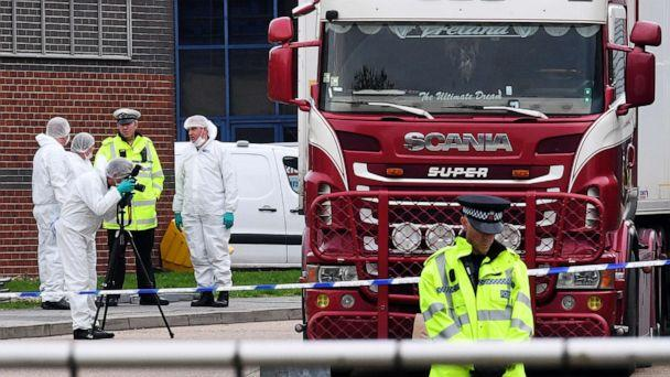 PHOTO: Police and forensic officers investigate a lorry in which 39 bodies were discovered in the trailer, as they prepare move the vehicle from the site on Oct. 23, 2019, in Thurrock, England. (Leon Neal/Getty Images, FILE)