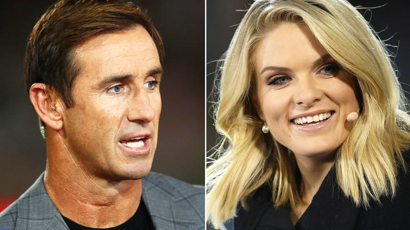 Andrew Johns and Erin Molan, pictured here in commentary for Channel Nine.