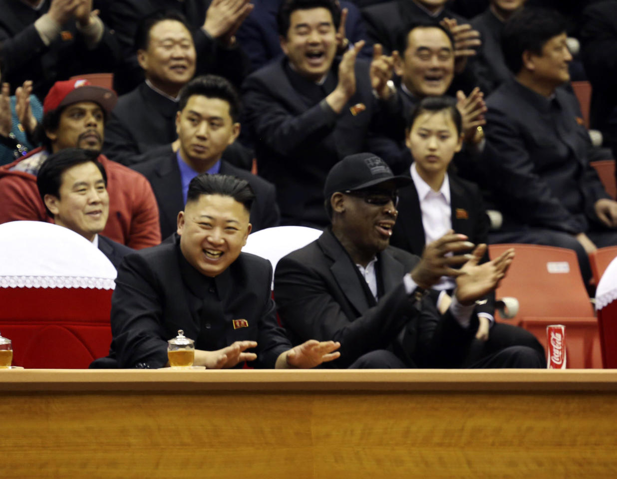 "North Korean leader Kim Jong-un and former NBA star Dennis Rodman watch a basketball game in Pyongyang, North Korea. The American star told the controversial leader ""you have a friend for life"". He is the most high-profile American visitor to the country since Kim Jong-un took power (REUTERS/VICE/Handout)"