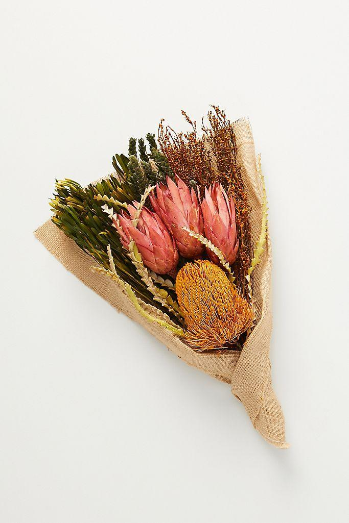 A stylish dried flower bouquet from retailer Anthropologie.