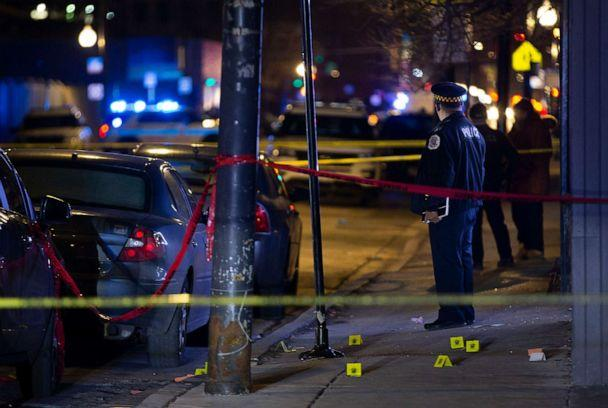 PHOTO: In this Jan. 16, 2020, file photo, Chicago Police process a crime scene after at least five people reportedly were shot in Chicago. (Terrence Antonio James/Chicago Tribune/TNS via Getty Images,FILE)