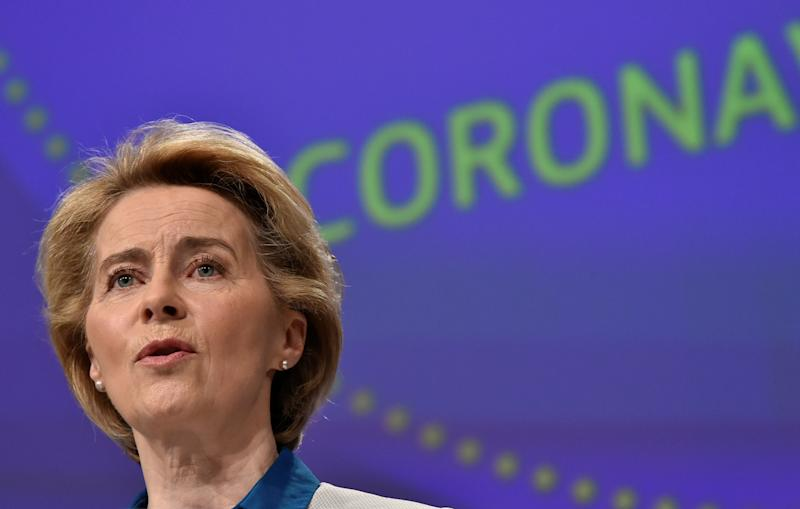 The President of European Commission Ursula von der Leyen holds a news conference on the European Union response to the coronavirus disease (COVID-19) crisis at the EU headquarters in Brussels, April 15, 2020. John Thys/Pool via REUTERS
