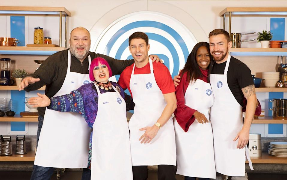 Neil Ruddock, Zandra Rhodes, Joey Essex, Oti Mabuse, Andy Grant took part in the first of a new series of Celebrity MasterChef - BBC