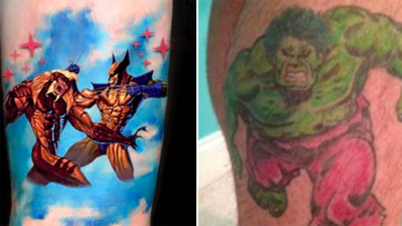 Jonathan Dick has two distinctive tattoos - a Wolverine versus Sabre-tooth tattoo on his right thigh to knee, and an Incredible Hulk tattoo on his left calf.