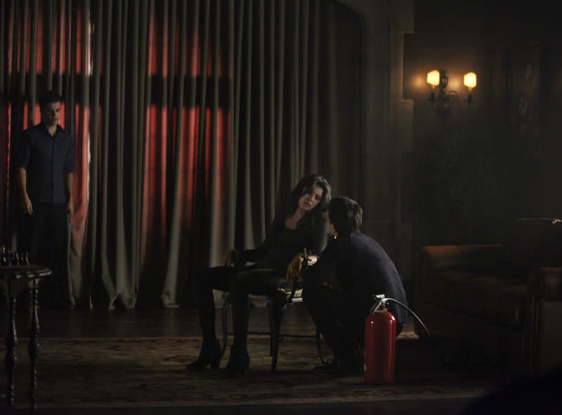 """She's Come Undone"" -- Paul Wesley as Stefan, Nina Dobrev as Elena, and Ian Somerhalder as Damon"