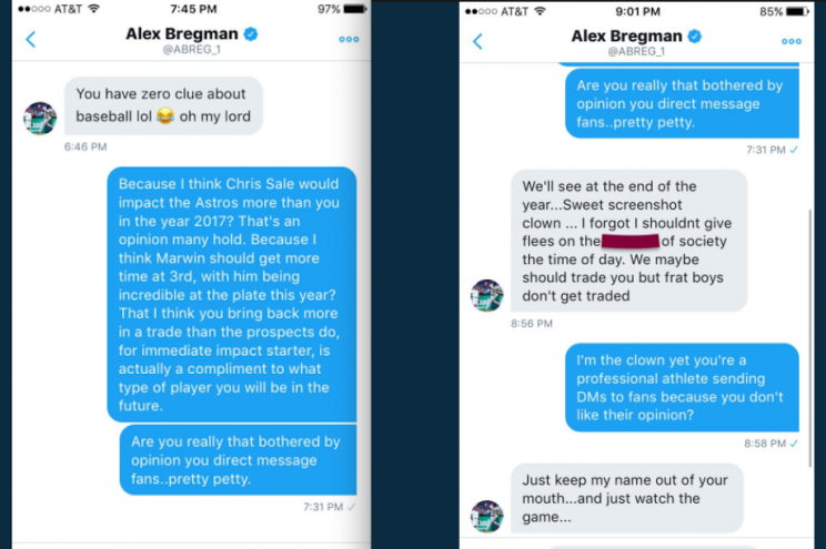 Alex Bregman wasn't happy with a fan who mentioned him on Twitter. (Screenshot via @AllenH83)