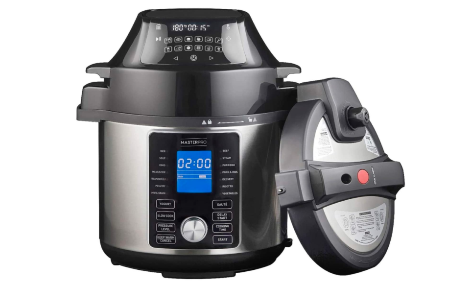 MASTERPRO Ultimate All-in-One Multi Cooker and Airfryer Ultimate All-in-One Multi Cooker and Airfryer, Stainless Steel/Black, MPMULTIPRO