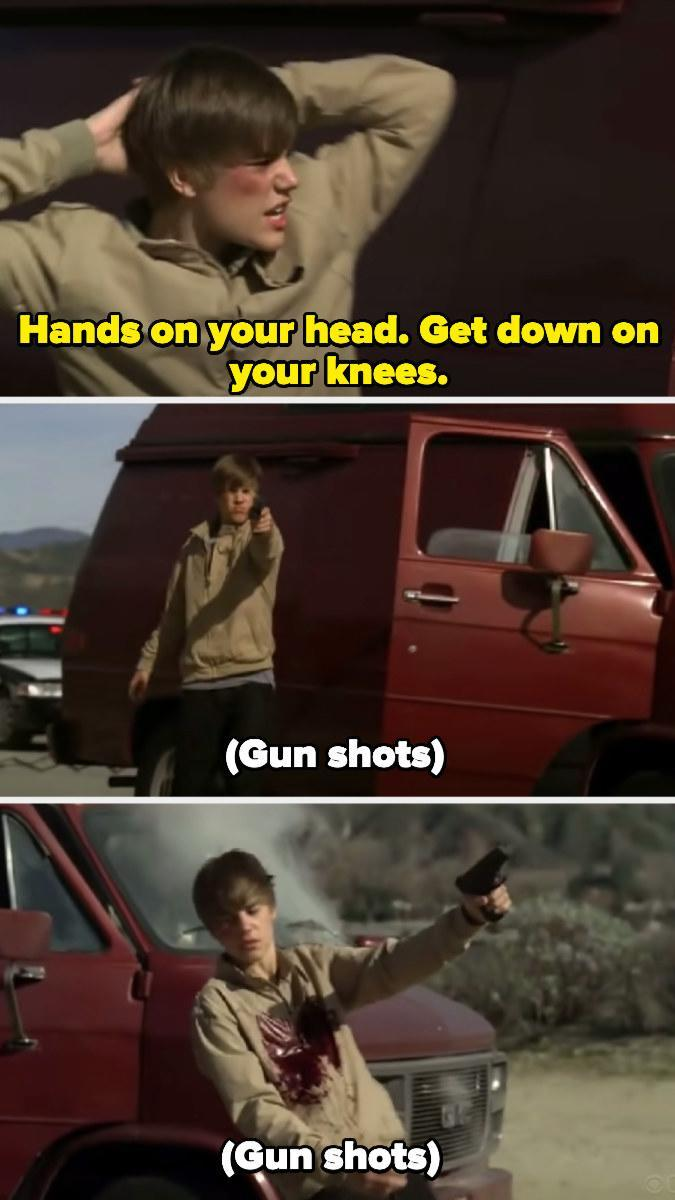 Justin Bieber getting shot in the chest on CSI