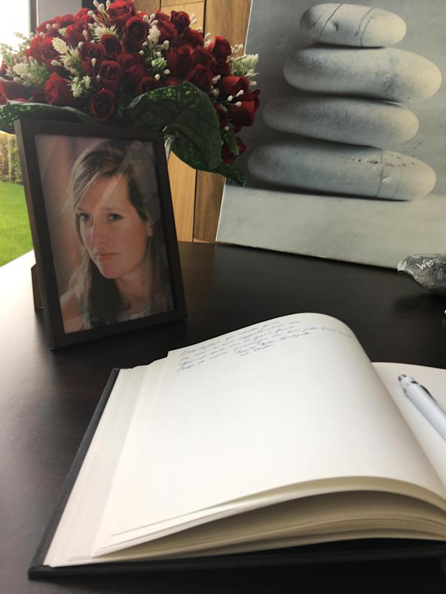<p>A book of condolence is open next to a portrait of victim of the New York terror attack Ann-Laure Decadt in a community center in Staden, Belgium Wednesday Nov. 1, 2017. Ann-Laure Decadt, 31 and a mother of three-year-old and three-month-old sons, was the Belgian victim in New York City's bike path attack near the World Trade Center on Tuesday. (Photo: Sylvain Plazy/AP) </p>