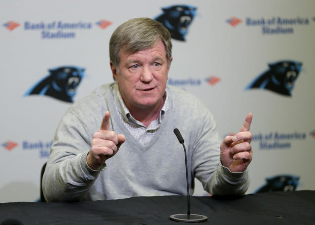 Carolina Panthers general Manager Marty Hurney answers a question during a NFL football pre-draft news conference in Charlotte, N.C., Tuesday, April 24, 2018. (AP Photo/Chuck Burton)