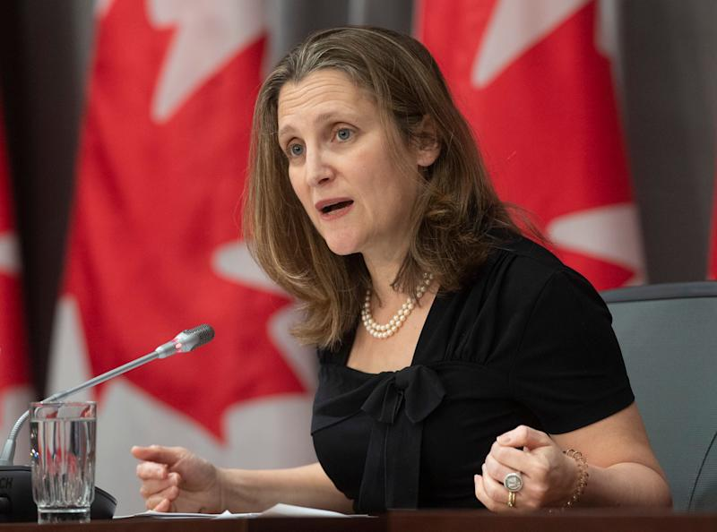 Deputy Prime Minister and Minister of Intergovernmental Affairs Chrystia Freeland responds to a question during a news conference in Ottawa on April 3, 2020. (Photo: Adrian Wyld/CP)