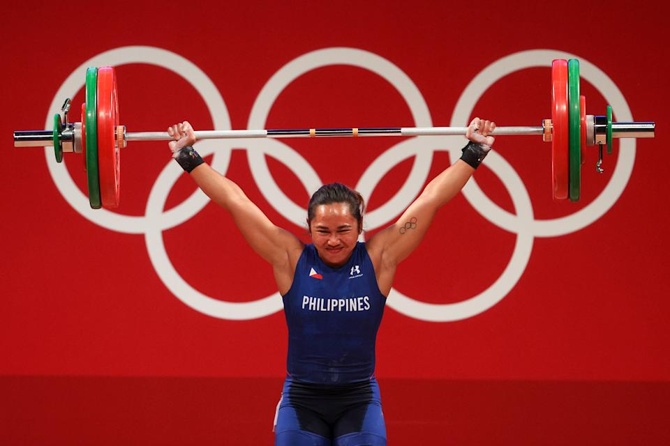 Filipina weightlifter Hidilyn Diaz during the snatch competition of the women's 55kg division.