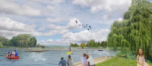The City of Montreal announced in July that it would be replacing the Lachine Marina with a new waterfront park. (City of Montreal - image credit)