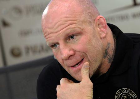 American mixed martial arts fighter Jeff Monson attends a news conference in St. Petersburg