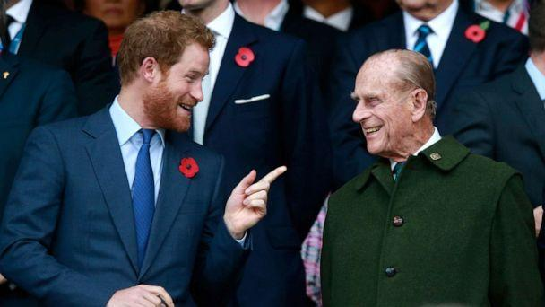 PHOTO: Prince Harry and Prince Philip during the 2015 Rugby World Cup Final at Twickenham Stadium on Oct. 31, 2015 in London. (Phil Walter/Getty Images, FILE)