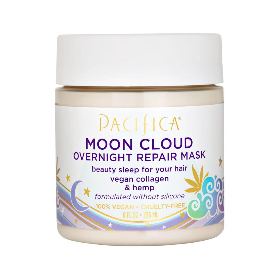 """<p>Apply this nourishing mask to damp or dry hair once a week (rinse before styling) to give hair a moisture boost while you sleep. Twist your stands into a bun and secure with a terry cloth scrunchie when you use it.</p> <p><strong>Buy It! </strong><a href=""""https://ulta.ztk5.net/c/249354/164999/3037?subId1=PEOTheBestOvernightBeautyProductsforHairandSkinkfrey1271StyGal12594058202102I&u=https%3A%2F%2Fwww.ulta.com%2Fmoon-cloud-overnight-repair-mask%3FproductId%3Dpimprod2014378"""" rel=""""nofollow noopener"""" target=""""_blank"""" data-ylk=""""slk:Pacifica Beauty Moon Cloud Overnight Repair Mask, $14; ulta.com"""" class=""""link rapid-noclick-resp"""">Pacifica Beauty Moon Cloud Overnight Repair Mask, $14; ulta.com</a></p>"""