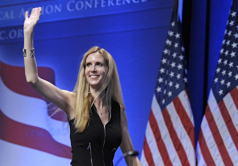"FILE - In this Feb. 12, 2011 file photo, Ann Coulter waves to the audience after speaking at the Conservative Political Action Conference (CPAC) in Washington. The Fox Nation web site has removed a column by conservative commentator Ann Coulter because it had a reference to killing the daughter of Sen. John McCain. Fox said Thursday, April 11, 2013, the column, posted Wednesday night, was deemed offensive. Coulter wrote that MSNBC's Martin Bashir suggested Republican senators need to have a member of their family killed before they would support stronger gun control legislation. She wrote: ""Let's start with Meghan McCain!"" (AP Photo/Cliff Owen, File)"