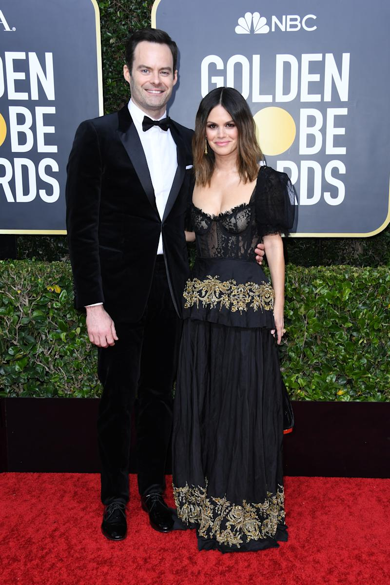 Bill Hader and Rachel Bilson at the Golden Globes