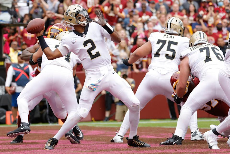 New Orleans Saints quarterback Jameis Winston (2) passes the ball from the end zone against the Washington Football Team during the second quarter at FedExField.