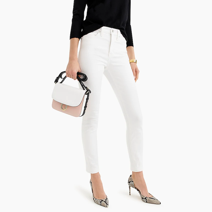 """<br> <br> <strong>J.Crew</strong> 9"""" high-rise toothpick jean in white, $, available at <a href=""""https://go.skimresources.com/?id=30283X879131&url=https%3A%2F%2Fwww.jcrew.com%2Fp%2Fwomens_category%2Fdenim_jeans%2Fskinny%2F9-highrise-toothpick-jean-in-white%2FB3584"""" rel=""""nofollow noopener"""" target=""""_blank"""" data-ylk=""""slk:J.Crew"""" class=""""link rapid-noclick-resp"""">J.Crew</a>"""